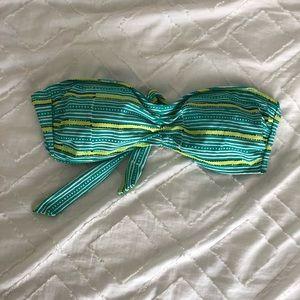Aerie Strapless Green Stripe Swim Bikini Top